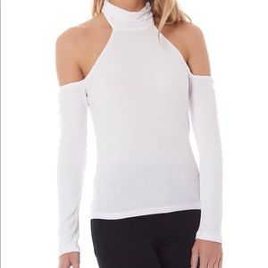 LF see through cut out shoulder top